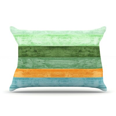 Beach Wood Pillow Case Size: Standard, Color: Blue