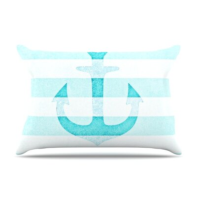 Monika Strigel Stone Vintage Aqua Anchor Featherweight Sham Size: King, Color: Aqua, Fabric: Woven Polyester