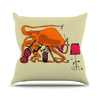 Playful Octopus Throw Pillow Size: 18 H x 18 W