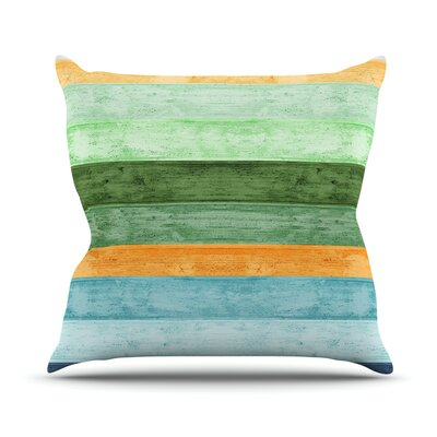 Beach Wood Throw Pillow Size: 18 H x 18 W, Color: Blue