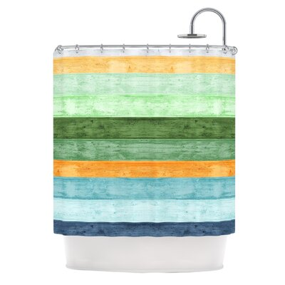 Beach Wood Shower Curtain Color: Blue