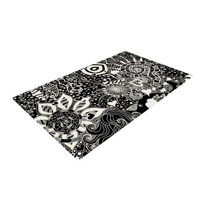 Monika Strigel Neptunes Garden Black/White Area Rug Rug Size: 2 x 3