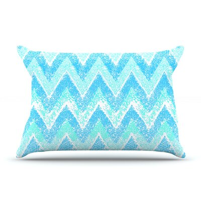 Mint Snow Chevron by Marianna Tankelevich Featherweight Pillow Sham Size: King, Fabric: Woven Polyester