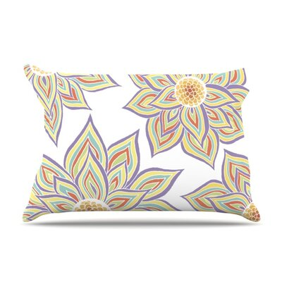Floral Rhythm in the Dark by Pom Graphic Design Featherweight Pillow Sham Size: Queen, Color: White, Fabric: Woven Polyester