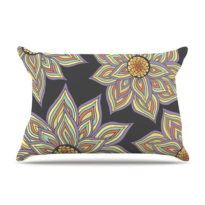Floral Rhythm in the Dark by Pom Graphic Design Featherweight Pillow Sham Size: Queen, Color: Black, Fabric: Woven Polyester