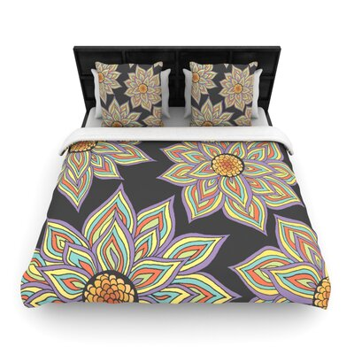 Floral Rhythm in the Dark Woven Comforter Duvet Cover Size: King