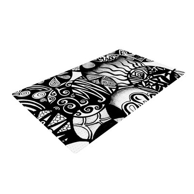 Circles and Life Black Area Rug Rug Size: 4 x 6