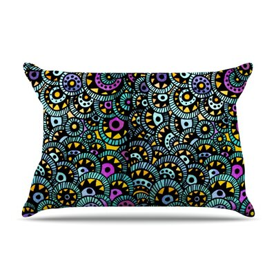 Peacock Tail Pillow Case Size: Standard