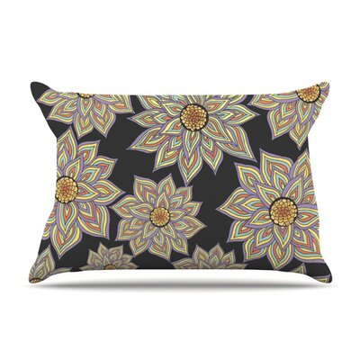 Floral Dance in the Dark by Pom Graphic Design Featherweight Pillow Sham Size: King, Color: Black, Fabric: Woven Polyester