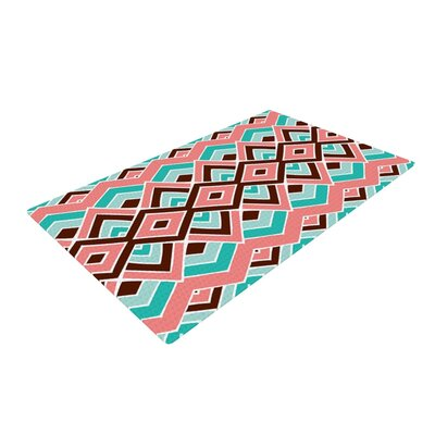 Eclectic Peach/Teal Area Rug Rug Size: 2 x 3