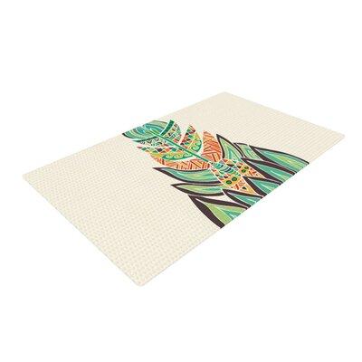 Pom Graphic Design Tribal Feather Green/Orange Area Rug