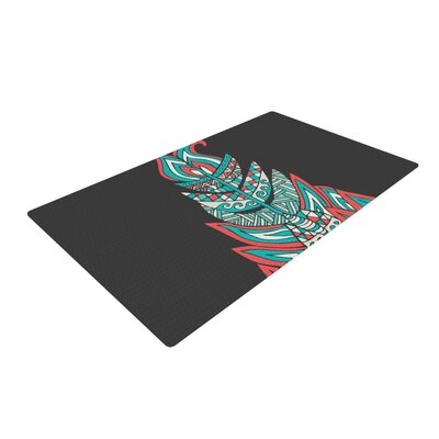 Pom Graphic Design A Romantic Feather Red/Teal Area Rug