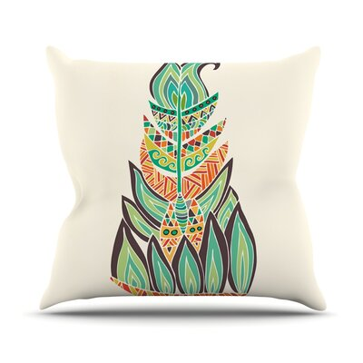 Tribal Feather by Pom Graphic Throw Pillow Size: 16 H x 16 W x 3 D
