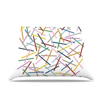 Sprinkles on Black by Project M Featherweight Pillow Sham Size: Queen, Color: White, Fabric: Woven Polyester