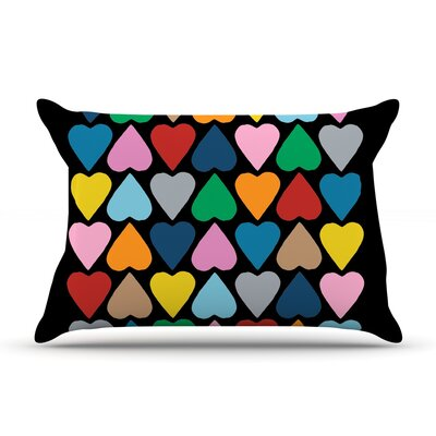 Project M Up And Down Hearts On Black Pillow Case