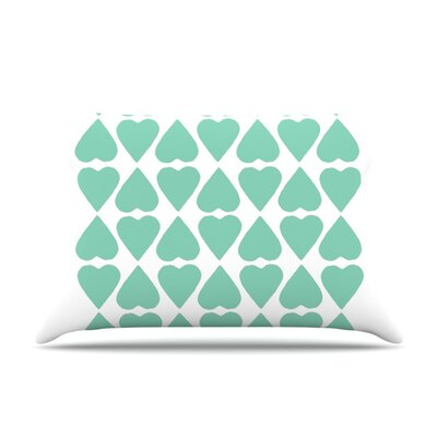Mint Diamond Hearts by Project M Featherweight Pillow Sham Size: King, Fabric: Woven Polyester