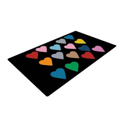 Hearts Color on Black Area Rug Rug Size: 4 x 6