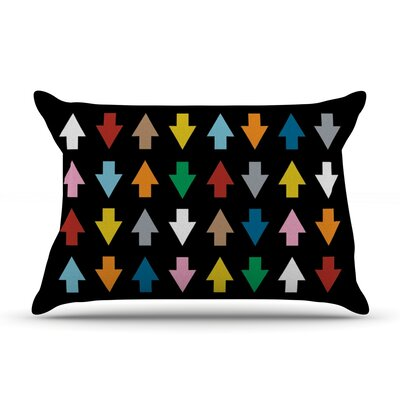 Arrows Up and Down by Project M Featherweight Pillow Sham Size: King, Color: Black, Fabric: Woven Polyester