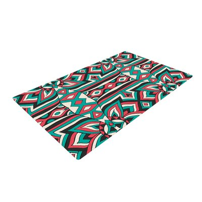 Pom Graphic Design Ethnic Floral Mosaic Teal/Red Area Rug
