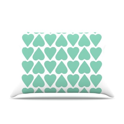 Mint Up and Down Hearts by Project M Featherweight Pillow Sham Size: King, Fabric: Woven Polyester