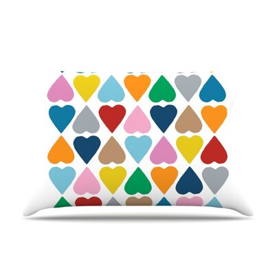 Diamond Hearts Throw Pillow Size: Standard, Color: Multi