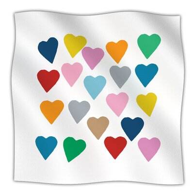 Colorful Hearts Throw Blanket Size: 60 L x 50 W