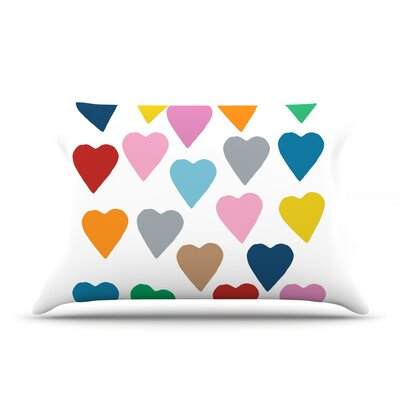 Colorful Hearts Pillow Case Size: Standard