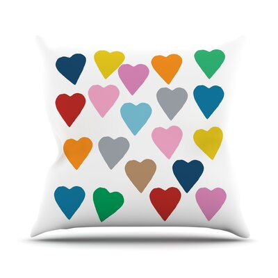Colorful Hearts Throw Pillow Size: 18 H x 18 W