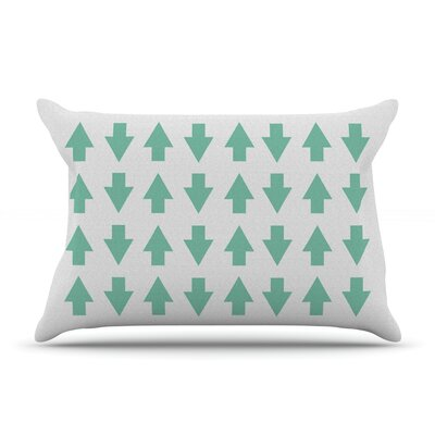 Arrows Up And Down Pillow Case Color: Mint, Size: King