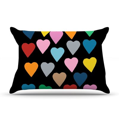 Project M Hearts Colour on Black Featherweight Sham Size: King, Fabric: Woven Polyester