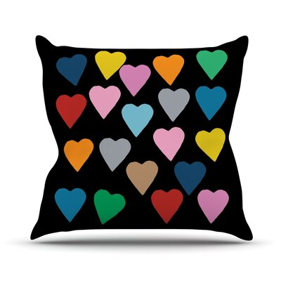 Hearts Color on Black Outdoor Throw Pillow Size: 16