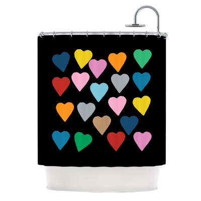 Hearts Colour On Black Shower Curtain