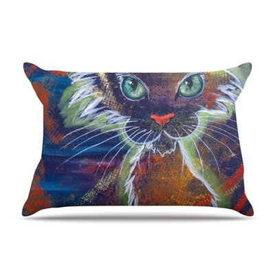 Rave Kitty by Padgett Mason Featherweight Pillow Sham Size: Queen, Fabric: Woven Polyester