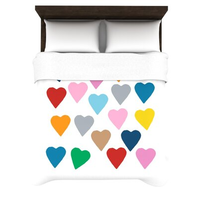 Project M Woven Comforter Duvet Cover Size: Twin, Color: Colorful Hearts