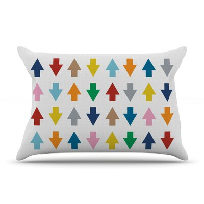 Arrows Up And Down Pillow Case Size: Standard, Color: White