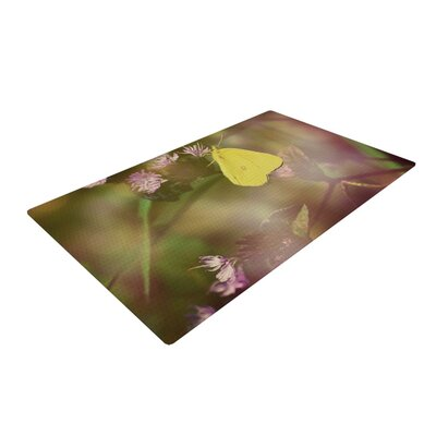 Robin Dickinson Butterfly Kisses Green/Purple Area Rug