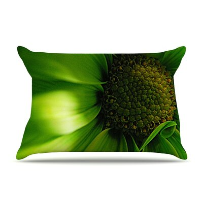 Green Flower by Robin Dickinson Featherweight Pillow Sham Size: King, Fabric: Woven Polyester