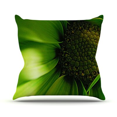 Green Flower Throw Pillow Size: 18 H x 18 W