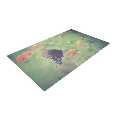 Robin Dickinson Captivating II Flower Green Area Rug