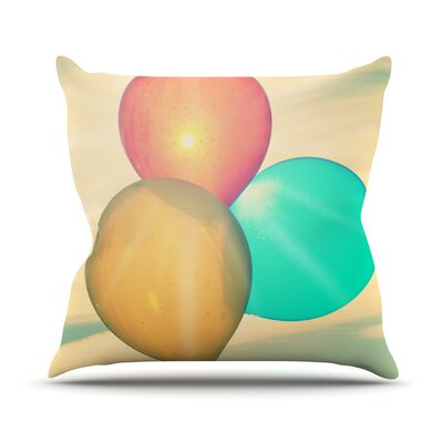 Balloons by Robin Dickinson Tan Clouds Throw Pillow Size: 18