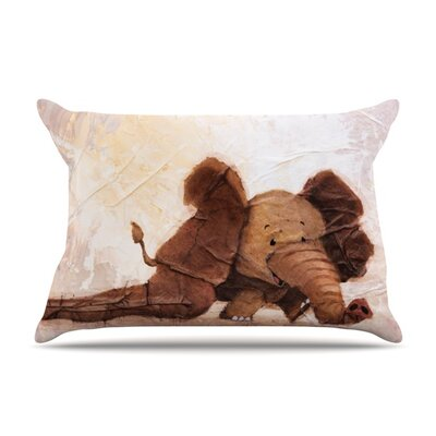 The Elephant with the Long Ears by Rachel Kokko Featherweight Pillow Sham Size: Queen, Fabric: Woven Polyester