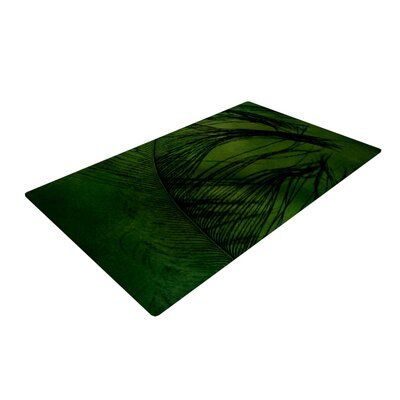 Robin Dickinson Feather Peacock Green Area Rug