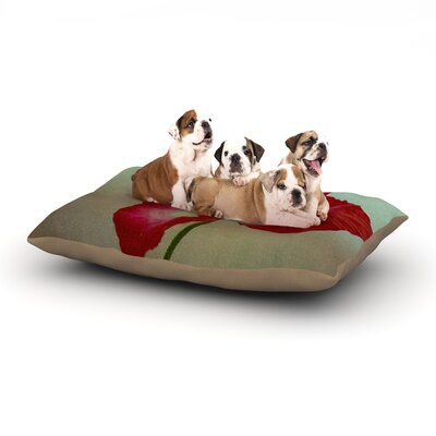 Robin Dickinson La Te Da Magenta Poppies Dog Pillow with Fleece Cozy Top Size: Large (50 W x 40 D x 8 H)