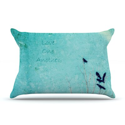 Robin Dickinson 'Love One Another' Birds Pillow Case