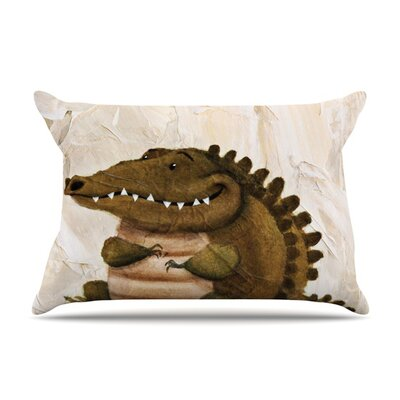 Smiley Crocodiley Pillow Case Size: Standard