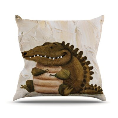 Smiley Crocodiley Throw Pillow Size: 18 H x 18 W
