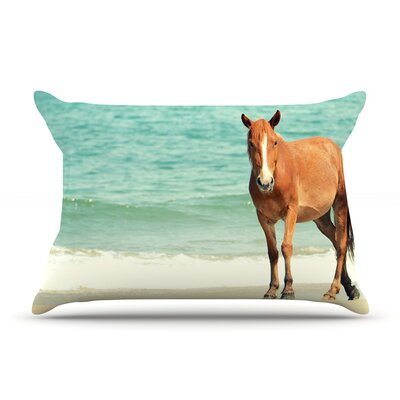 Wild Mustang of Carova by Robin Dickinson Featherweight Pillow Sham Size: Queen, Fabric: Woven Polyester