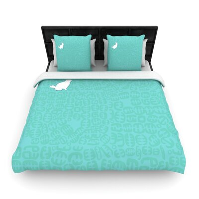 Oliver Woven Comforter Duvet Cover Color: Teal, Size: Twin