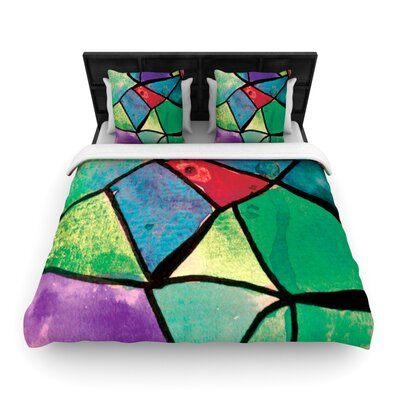 Kess InHouse Theresa Giolzetti Woven Comforter Duvet Cover Size: King, Color: Stain Glass 1