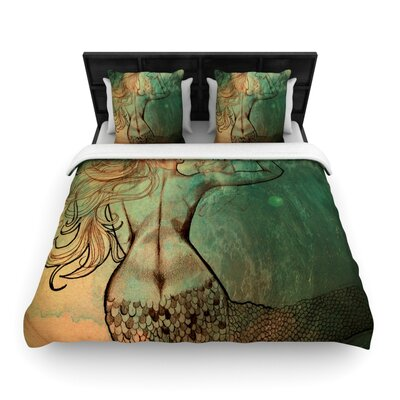 Poor Mermaid Woven Comforter Duvet Cover Size: Full/Queen
